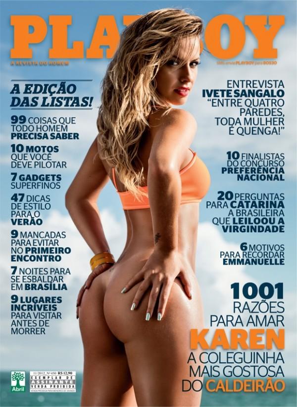 Coleguinha Karen Kounrouzan pelada nua na Playboy de Novembro 1