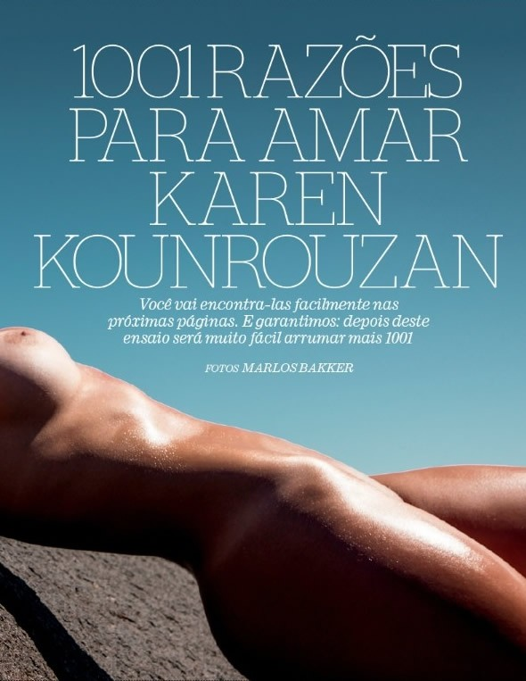Coleguinha Karen Kounrouzan pelada nua na Playboy de Novembro 21
