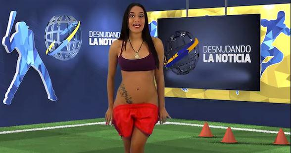 Yuvi Pallares apresentadora cumpre promessa e fica nua ao vivo Sem tarja