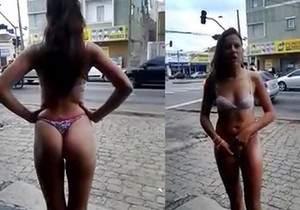 Mulher flagrada de calcinha e sutiã pelas ruas de São Paulo