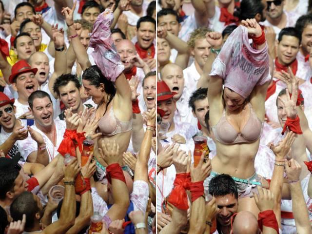 Vinho e seios de fora essa é a Festa de San Fermín, na Espanha 13