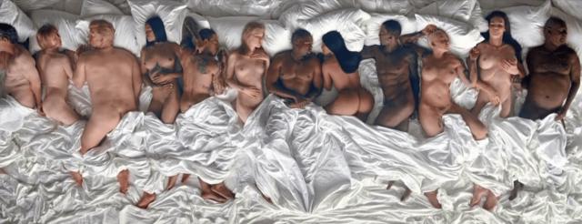 Celebridades aparecem nuas em clipe do rapper Kanye West Famous