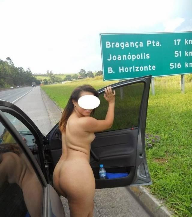 Rabuda cavala vazou na net peladinha na estrada