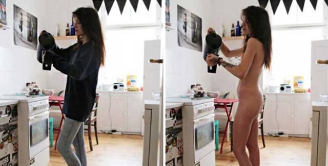 Fotográfica mostra pessoas nuas fazendo tarefas do dia a dia 1