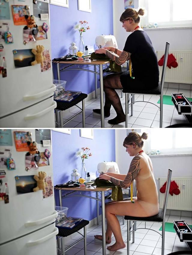 Fotográfica mostra pessoas nuas fazendo tarefas do dia a dia 8